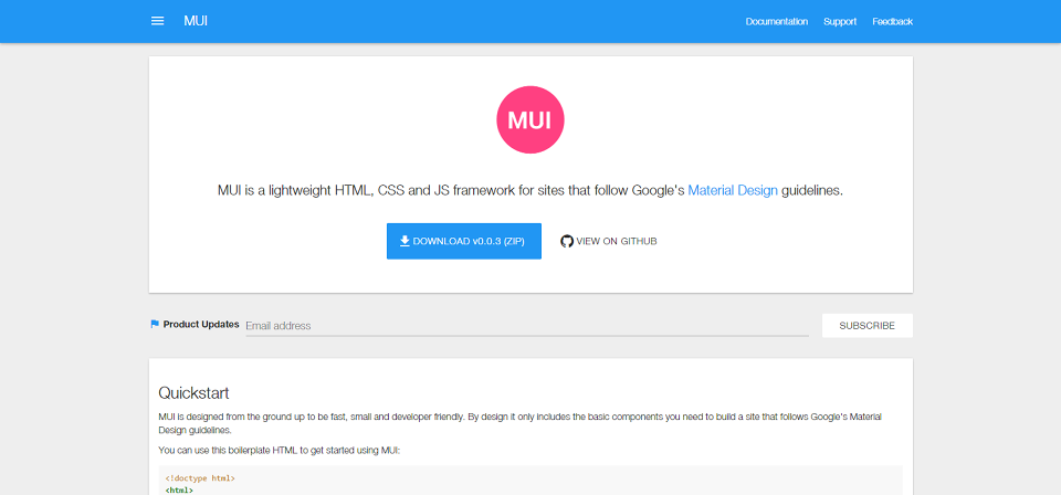 MUI Google's Material Design Framework · Stampsy